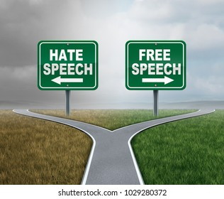 Free speech and hate talk as freedom or hatred symbol as opposite political directions with 3D illustration elements.