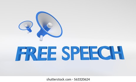 Free speech text with megaphones on white background