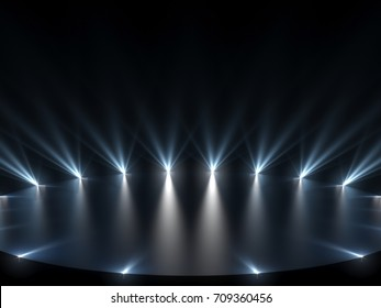 Free stage with lights, lighting devices. 3d render backgraund