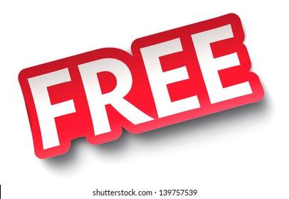 FREE sticker on white background.