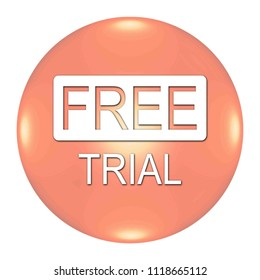 Free Trial button isolated. 3d illustration