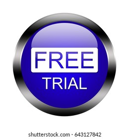 Free Trial button isolated, 3d illustration