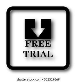 Free trial icon, black website button on white background.