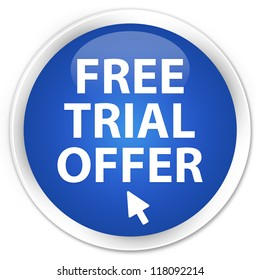 Free trial offer icon blue button