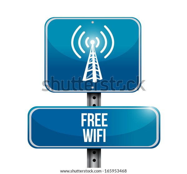 free wifi road sign illustration design over a white background