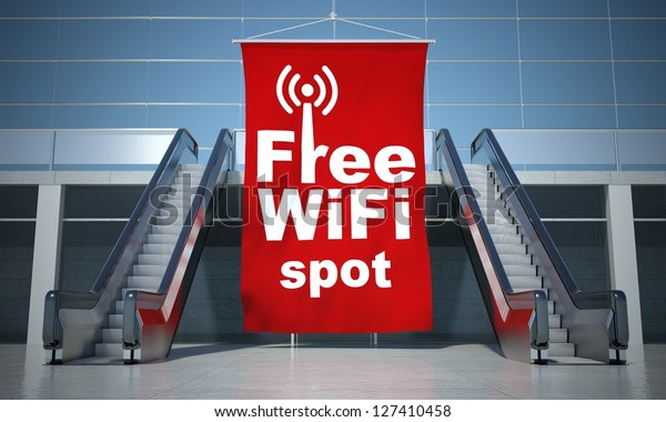 Free wifi spot advertising flag and modern moving escalator stairs