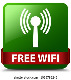 Free wifi (wlan network) isolated on green square button with red ribbon in middle abstract illustration