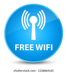 Free wifi (wlan network) isolated on elegant cyan blue round button abstract illustration