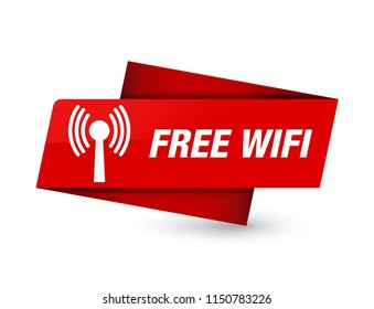 Free wifi (wlan network) isolated on premium red tag sign abstract illustration