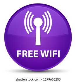 Free wifi (wlan network) isolated on special purple round button abstract illustration
