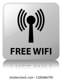 Free wifi (wlan network) isolated on white square button reflected abstract illustration