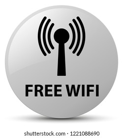Free wifi (wlan network) isolated on white round button abstract illustration