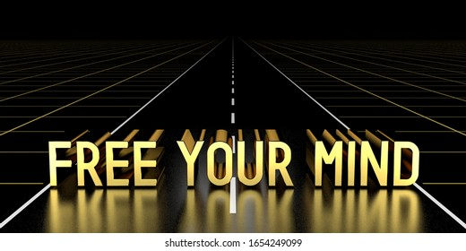Free your mind concept, road - 3D rendering