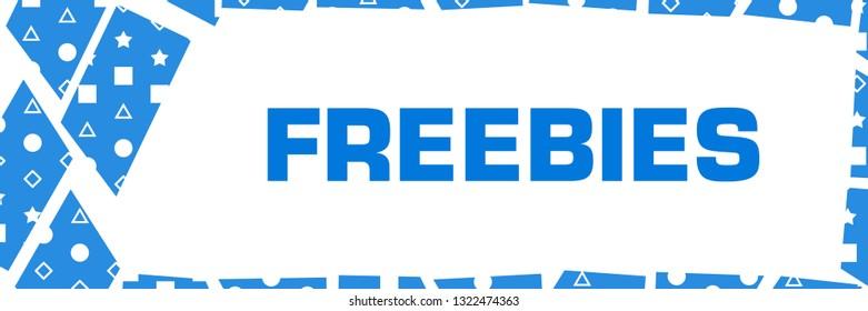 Freebies text written over blue background.
