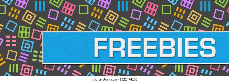 Freebies text written over dark colorful background.