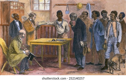Freedmen at a voter registration office, Macon, Georgia in 1867. During Reconstruction (1866-1876). 19th century engraving with modern color.