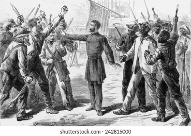 The Freedmen's Bureau was established by Congress in March 1865. 1868 political cartoon depicts General Oliver O. Howard, head of the Bureau, mediating between belligerent groups of whites and blacks.