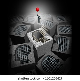 Freedom concept and escape out of a cage as a psychology to open your dreams and achieve personal or business success and control your destiny icon with 3D illustration elements.
