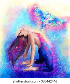 Freedom motivational  poster or banner creative idea. Beautiful woman in meditation in blue sky and cosmic space with bird flying from her heart illustration, watercolor style, sacred geometry