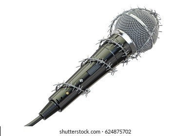 Freedom of speech and of the press prohibition concept. Microphone with barbed wire, 3D rendering