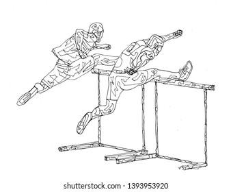 Hurdle Drawing Art