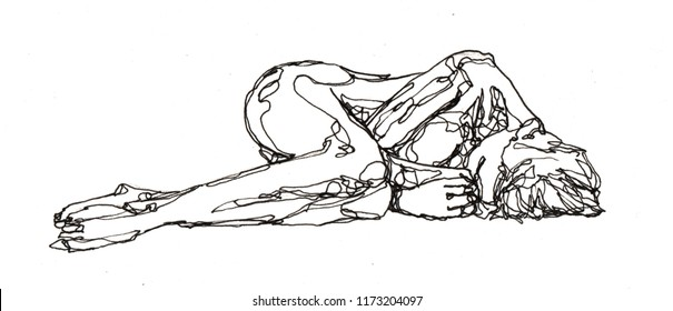 Freehand Contour Line Drawing of Nude Woman on paper by black pen
