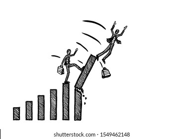 Freehand drawing of business man breaking the highest bar of chart with a kick, thus bringing another manager to a fall. Metaphor for competition, envy, stabbing in the back, betrayal, backstabbing.