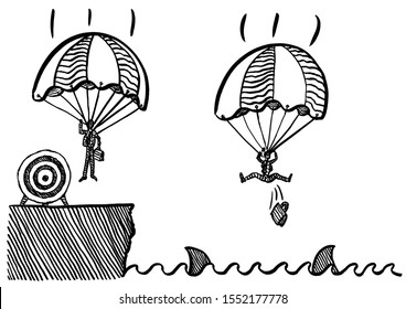 Freehand drawing of business man landing safely with parachute at target onshore, while his competitor is plunging in shark invested sea. Metaphor for competition, rivalry, achievement, targeting.