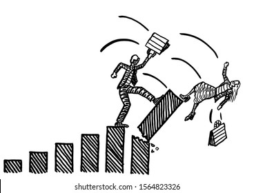 Freehand drawing of businessman toppling the highest bar in a growth chart, thus overthrowing a business woman. Metaphor for gender competition, sexism, discrimination, rivalry, battle of sexes.