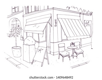Freehand drawing of european sidewalk cafe or restaurant with table and chairs standing on city street beside building. illustration drawn with black contour lines on white background