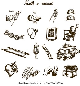 Freehand drawing hospital items, doodle health and medical set
