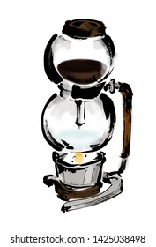 Freehand drawing illustration coffee Coffee siphon