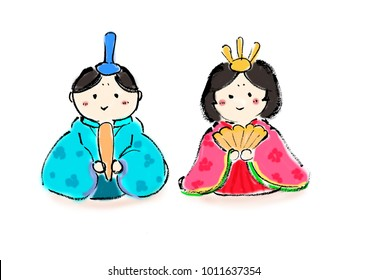 Freehand drawing illustration Japanese dolls dolls wearing a kimono
