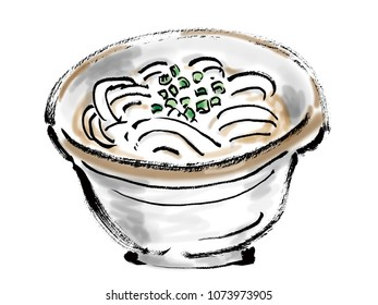 Freehand drawing illustration Japanese food Udon noodles Japanese food called kakeudon