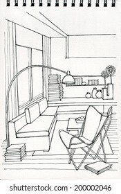 Freehand drawing of modern living room interior illustration on sketch book
