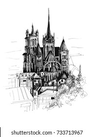 Freehand drawing of Notre Dame in Lausanne Switzerland