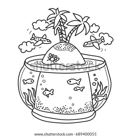 70efb69aa7082 Freehand Drawing Paradise Island Fish Tank Stock Illustration ...