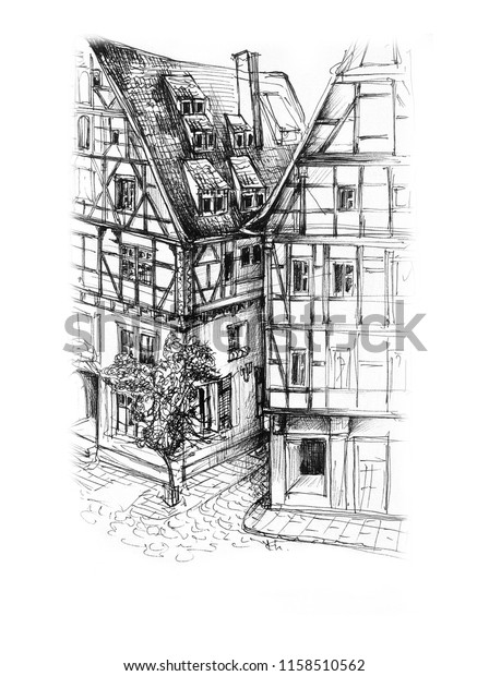 Freehand drawing of Rothenburg ob der Tauber in Bavaria Germany