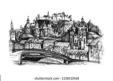 Freehand drawing of Salzburg Austria