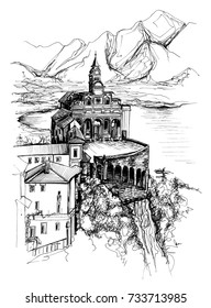 Freehand drawing of Sanktuarium Madonna del Sasso in Locarno Switzerland