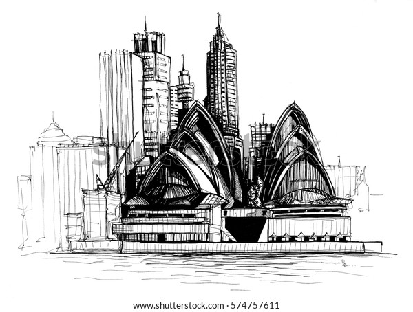 Freehand drawing of Sydney skyline with Opera House
