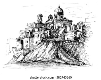 Freehand drawing of Syros Greece