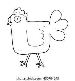 freehand drawn black and white cartoon chicken
