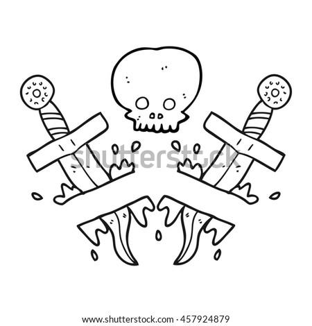 Freehand Drawn Black White Cartoon Dagger Stock Illustration