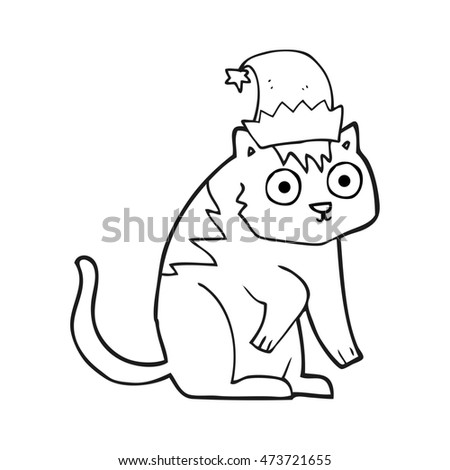 74a8b763 Freehand Drawn Black White Cartoon Cat Stock Illustration 473721655 ...