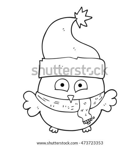 Freehand Drawn Black White Cartoon Owl Stockillustratie 473723353