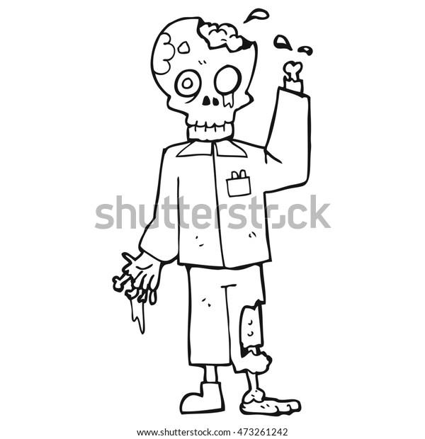 Freehand Drawn Black White Cartoon Zombie Stock Illustration 473261242