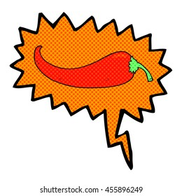 freehand drawn comic book speech bubble cartoon chilli pepper