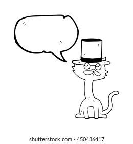 freehand drawn speech bubble cartoon cat in top hat
