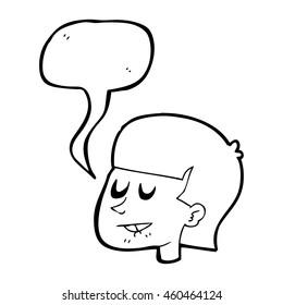 freehand drawn comic book speech bubble cartoon man biting lip ez